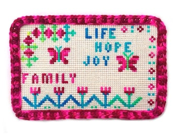 Vintage family needlepoint plaque, life hope joy family plastic canvas art, flower butterfly pink crochet trim, affirmation inspiration