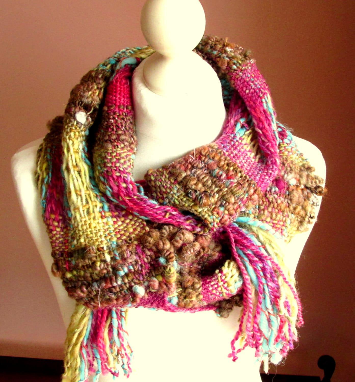 handwoven scarf yarn scarf boho scarf wool