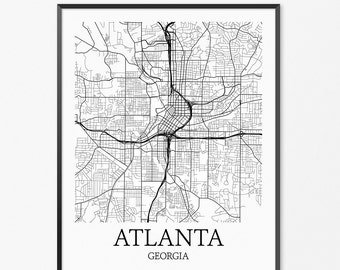 Atlanta Map Art Print, Atlanta Poster Map of Atlanta Decor, Atlanta City Map Art, Atlanta Gift, Atlanta Georgia Art Poster