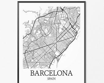 Barcelona Map Art Print, Barcelona Poster Map of Barcelona Decor, Barcelona City Map Art, Barcelona Gift, Barcelona Spain Art Poster