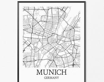 Munich Map Art Print, Munich Poster Map of Munich Decor, Munich City Map Art, Munich Gift, Munich Germany Art Poster