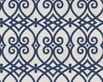 Up to 10 % off Custom Drapes- Lattice Geometric Drapes, *Royal* Navy, Coral, Cotton-Linen,Pinch Pleat Curtains,Drapery Panels, Made-to-Order