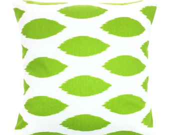 Green Pillow Covers, Decorative Throw Pillows, Cushions, Throw Pillows for Couch, Decorative Pillow, Chipper Ikat, One or More All Sizes