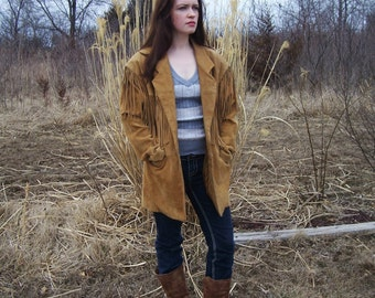Womens Suede Fringe Coat - Excellent Condition Vintage Prezzia 1989