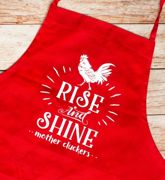 BBQ Apron, Rise and Shine,Father's Day,Gift for Him/Her,Grill Master,Bar-b-que pit, summer, outdoors, cook, chef,Chicken, Rooster,Kitchen
