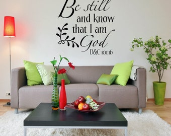Religious Wall Decal Quote, Dining Room Decor , Family Room Decor   Be  Still And