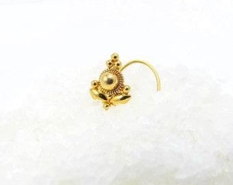 Tribal Nose Stud Gold ,22K Solid Gold Stud, Tribal Nose Ring, Indian Nose Stud, Gold Nose Stud, Tragus Stud, Nose Piercing, Nostril Stud