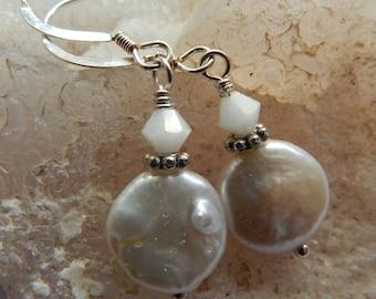 Freshwater Flat White Pearl Earrings - Swarovski Crystals - Sterling Silver Earwires