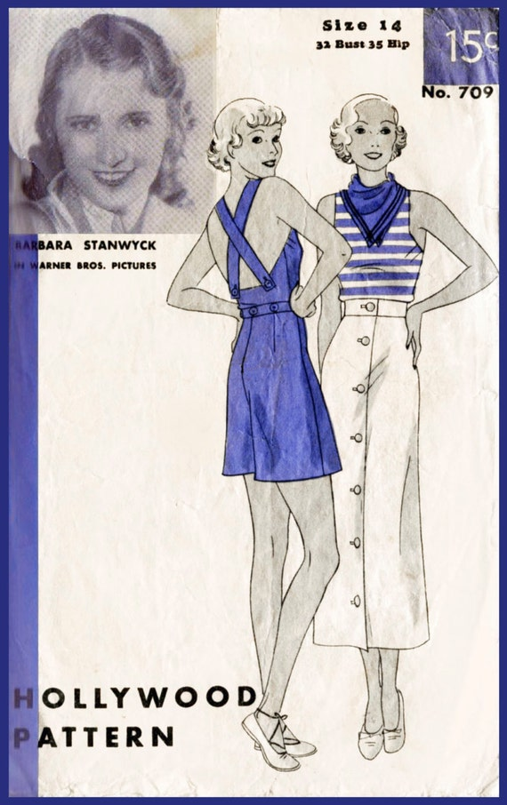 1930s Dresses, Clothing & Patterns Links 1930s 30s vintage playsuit sewing pattern womens beach romper overalls bust 32 b32 repro reproduction  AT vintagedancer.com