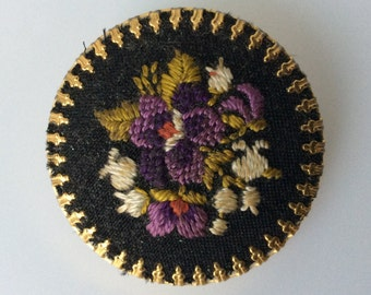 Vintage Needlepoint Brooch with Floral Design.