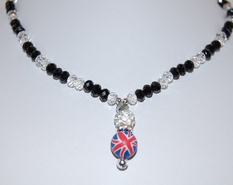 Union Jack Necklace,U.K Necklace,Glass Crystal Beads,Spirituality,Prayer,Woman,Girl,Yoga Bracelet,Protection,Meditation