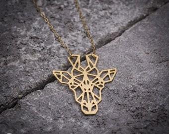Animal necklace, geometric necklace, giraffe necklace, gold necklace, unique necklace, gift under 50, nature necklace, goldfilled necklace.