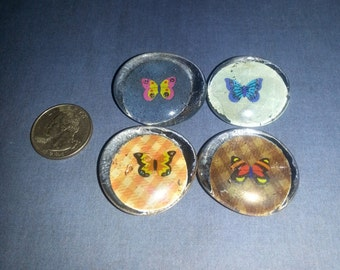 Butterfly Glass Marble Magnets (Set of 4)