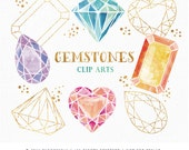 Gemstones Clip Art | Hand Drawn watercolor diamond, crystal, gem, gold foil and glitter Digital Graphics | Graphic Resources
