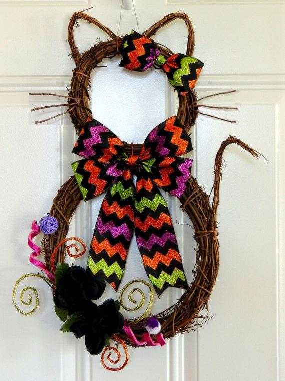Cat Wreath Halloween Wreath Kitty Boo Cat Wreath Halloween