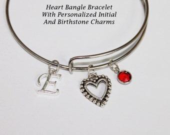 Bangle Bracelet. Heart Bracelet. Heart Jewelry. Initial Bracelet. Initial Jewelry. Birthstone Bracelet. Birthstone Jewelry. Personalized