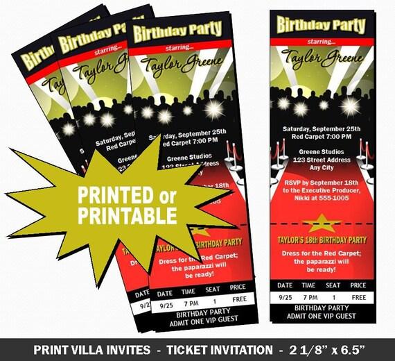 Red Carpet Paparazzi Ticket Invitation By PrintVillaInvites