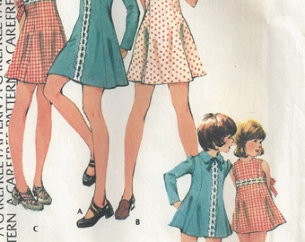 1970s Girls' Mini Dress Princess Seams Back Zipper Short Sleeves with Tucks Tie Belt Long Puffed Sleeves McCalls 4016 Size 12 Breast 30 76cm