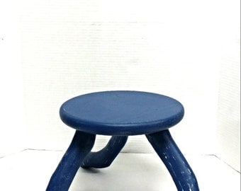 Wooden stool, milking stool, 3 legged stool, painted distressed stool, photography prop furniture, rustic farmhouse stool, blue wood stool