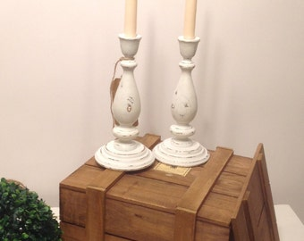 Pair of Vintage Solid Wood Turned Candle Stick Holders