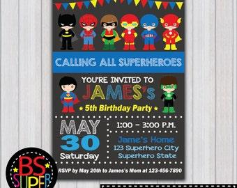 SUPERHERO Invitation, Superhero Boy Birthday Party invitation, Boy Superhero invite, Super Boy invitation