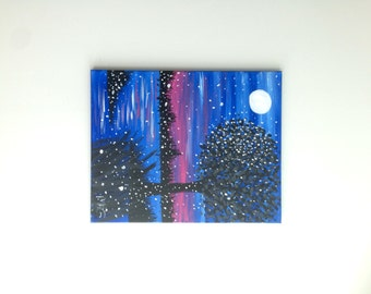 Blue Moonlight Painting, Moonlight Art, Tree Art, Tree Painting, Water painting, Blue sunset Reflection Painting, Nature painting,Nature