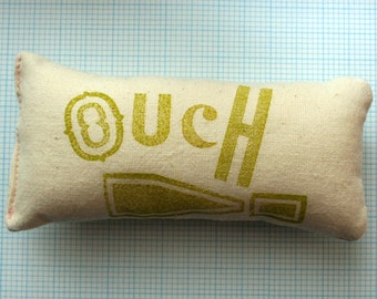 OUCH! Letterpress Pin Cushion: Hand-printed - Lime print