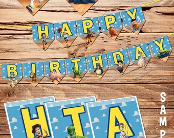 Toy Story - 1 / 2 / 3 / 4 Birthday Banner - Birthday Party Decorations / Birthday Party Ideas - Printable Digital Files - for boys and girls