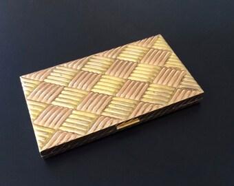 Vintage Evans Cigarette Case Business Card Case Gold Tone Basket Weave
