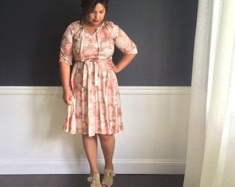 Reserved for Elia 1970s Pastel Floral Dress, Polyester Dress, Vintage Dress,  Full Skirt. Pink Dress. Pink Floral Dress,  Summer Dress, Size