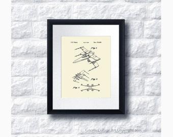 X-Wing Fighter Patent Art Print Star Wars Sci-Fi Movie, Star Wars Home Decor Star Wars Print #3