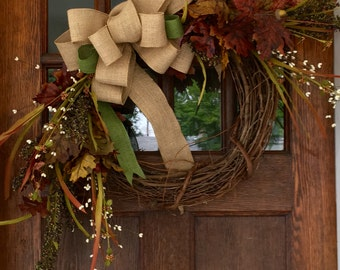 Fall Foliage Wreath with Burlap Bow