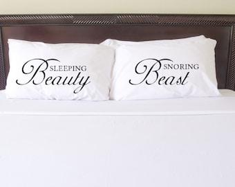 Sleeping Beauty \u0026 Snoring Beast Pillow Case Set Couples Pillow Case Matching Pillowcase