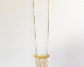 White & Gold Fringe Necklace