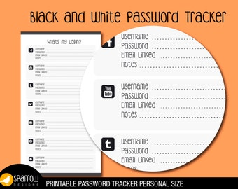 Personal Size Black and White Password Tracker