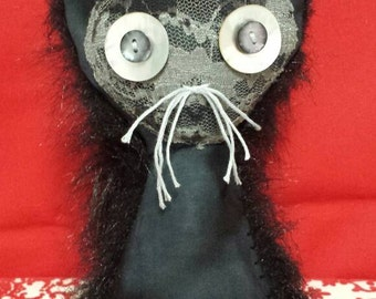 """Love Cat """"Dentelle Noire"""" creepy cute handemade plush art Monster art Valentine"""