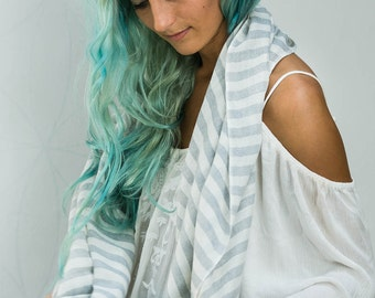Striped Scarf, White and Grey Cotton Wool Scarf For Men Or Women, Scarves Wrap Stole, Fall Winter Accessories