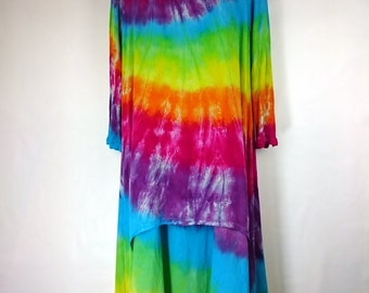 Rainbow dress, Women's dress, Tie dye dress, Long sleeve dress, Cotton Dress, Dress UK 12-14, Hippy Dress, Bohemian Dress, A-Line Dress