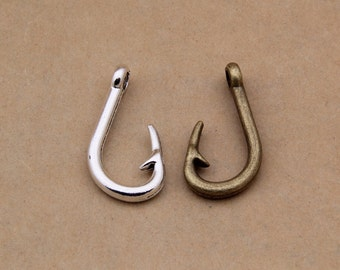 50pcs 38.5x18.8mm Alloy Hook Charm Pendants Fish Hook Charm Pendant Y1735