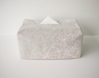 Linen Tissue Box Cover / Minimal Design / Oatmeal +Pale Pink