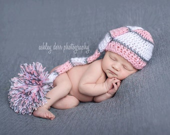 Long Tail Hat, Elf Hat, Newborn Photo Prop, Crochet Newborn Hat, Newborn Elf Hat, Baby Girl Hat, Baby Newborn Hat, Pink White Grey, Baby Hat