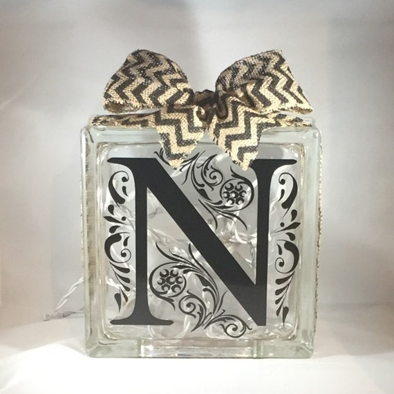 Custom Decorative Home Decor Monogram Inital Lighted Glass