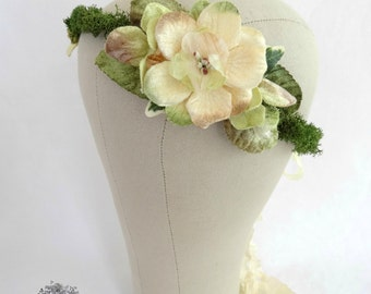 Pale Green and Cream Moss Flower Crown, Woodland Wedding Headpiece