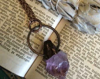 Crystal Necklace Raw Amethyst Necklace Gypsy Jewelry • Layering Necklace Boho Necklace Bohemian Necklace • Healing Crystals Boho Chic Rough