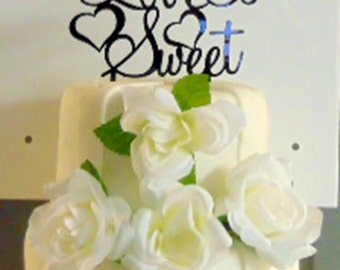 "Gorgeous ""Love Is Sweet"" Acrylic Cake Topper Wedding Cake Topper"