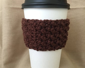 Brown Handmade Crochet Coffee Cup Cozy
