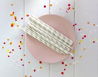 Silver Stripe Straws