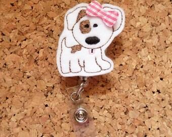 White Puppy Dog Badge Reel, ID Badge Reel, FELT Badge Reel, Retractable ID Name Holder, Nurse Badge Reel,  Teacher Gift, 371
