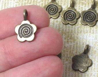 Bronze Tone Flower Glue on Bails (10) 15x11mm