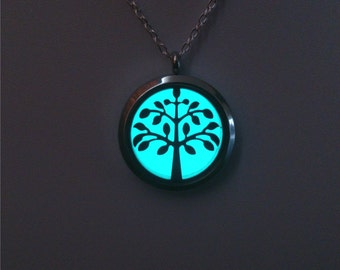 Tree Of Life - Family Tree Jewellery - Locket - Glowing Necklace - Aqua Glow Pendant - Valentines Day Gift - Womens Jewelry - Gifts for Her